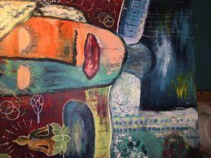 Kunstwerk mit Frau